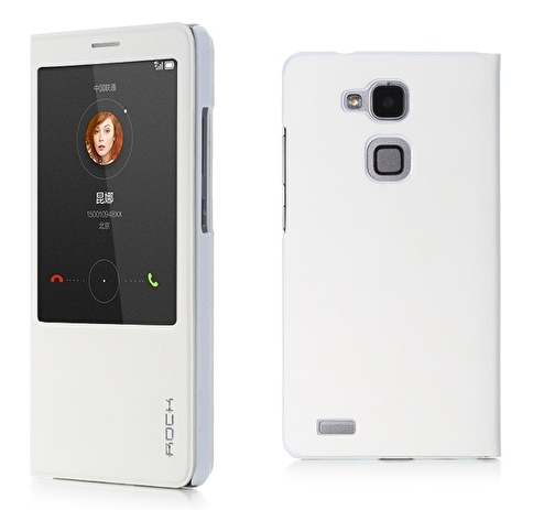 Rock Uni Huawei Ascend Mate 7 Quick View Smart Leather Kılıf  Beyaz